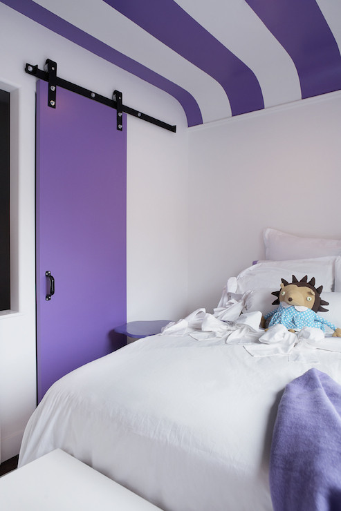 Purple and White Bedroom Purple Ceiling Design Ideas