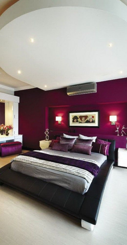 Purple and White Bedroom Wine Color
