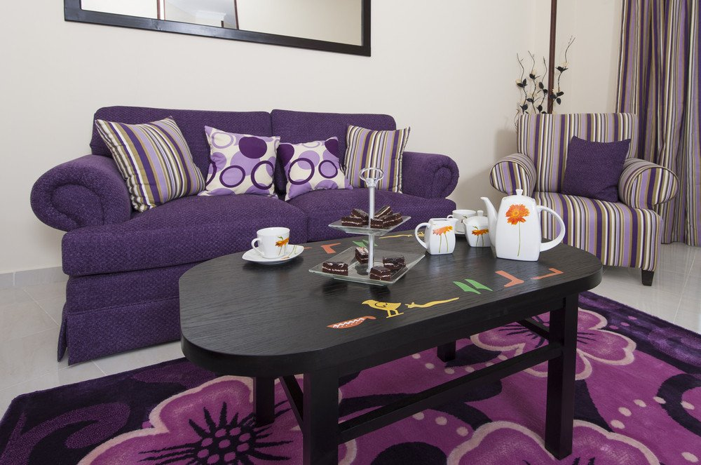 Purple Decor for Living Room Design with Purple
