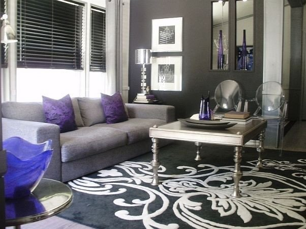 Purple Decor for Living Room Silver and Purple Living Rooms