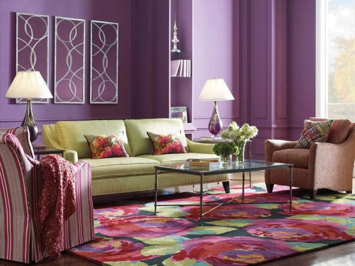Purple Wall Decor Living Room 18 Purple Living Room Designs Ideas