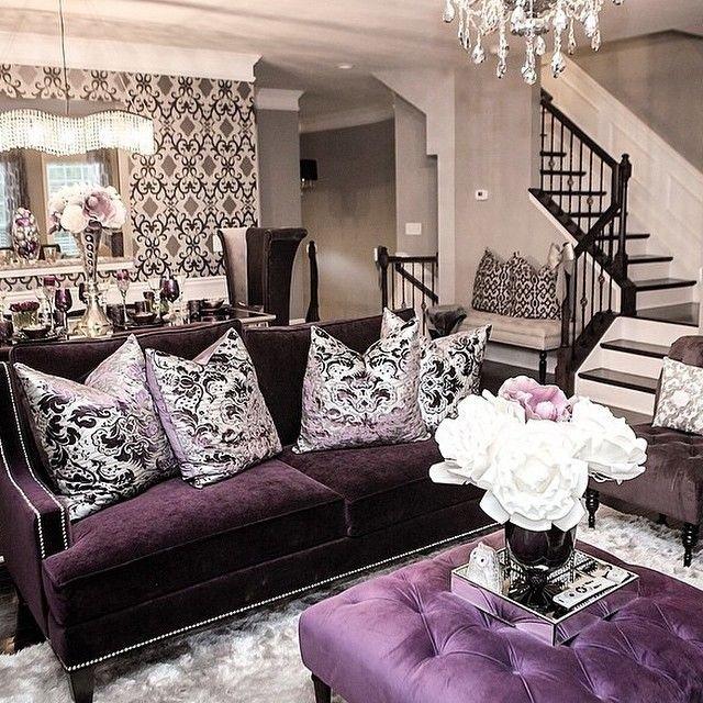 Purple Wall Decor Living Room Dazzling Purple Living Room Designs