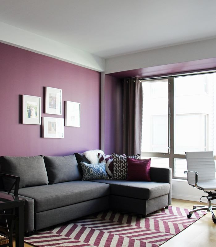 Purple Wall Decor Living Room Rich Use Of Color In This Contemporary Living Room the