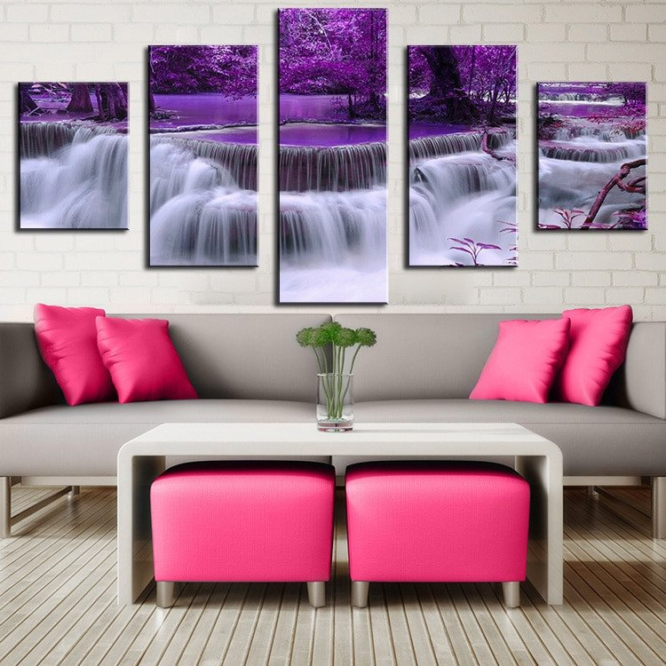 Purple Wall Decor Living Room Unframed 5 Panel Modern Printed Color Purple Waterfall