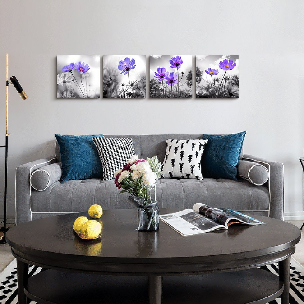 Purple Wall Decor Living Room Wall Art for Living Room Black and White Purple Flower