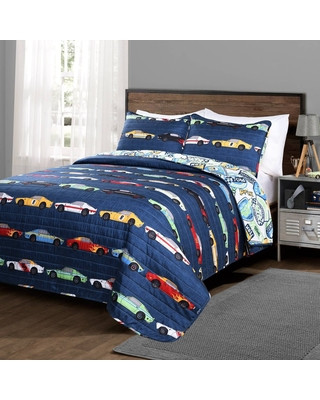 Race Car Bedroom Decor Hot Sale 3pc Full Queen Race Car Bedding Set Navy Lush Décor