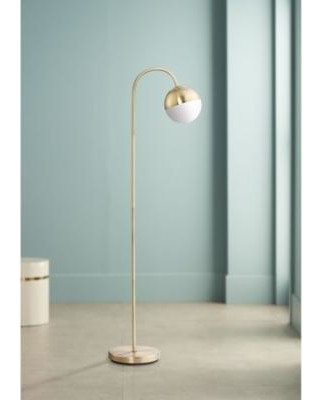 Reading Lamps for Bedroom 360 Lighting 360 Lighting Mid Century Modern Floor Lamp Led Antique Brass White Glass Globe Shade Step Switch for Living Room Reading Bedroom From