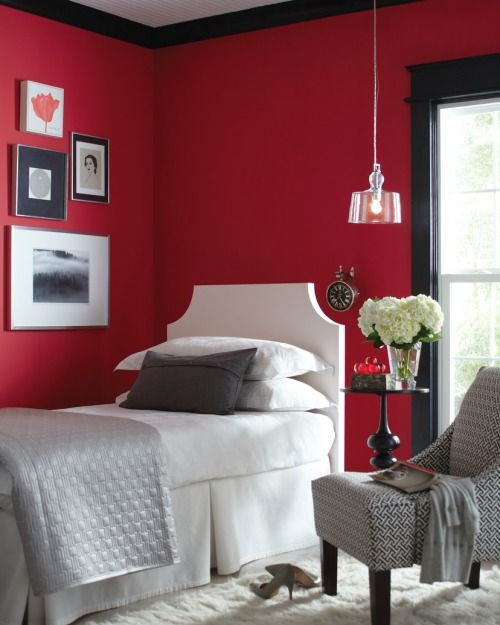 Red and Black Bedroom Decor Red Room Black Trim
