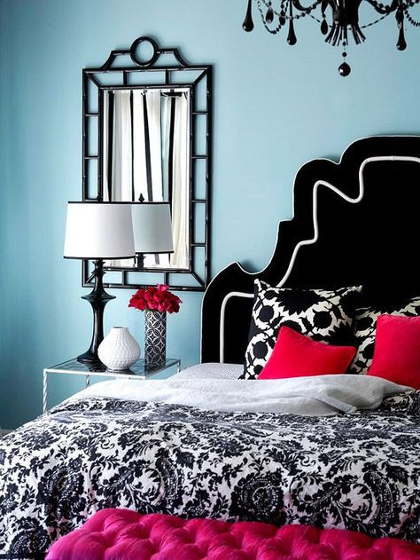 Red and Blue Bedroom Light Blue Bedroom with Red Accents