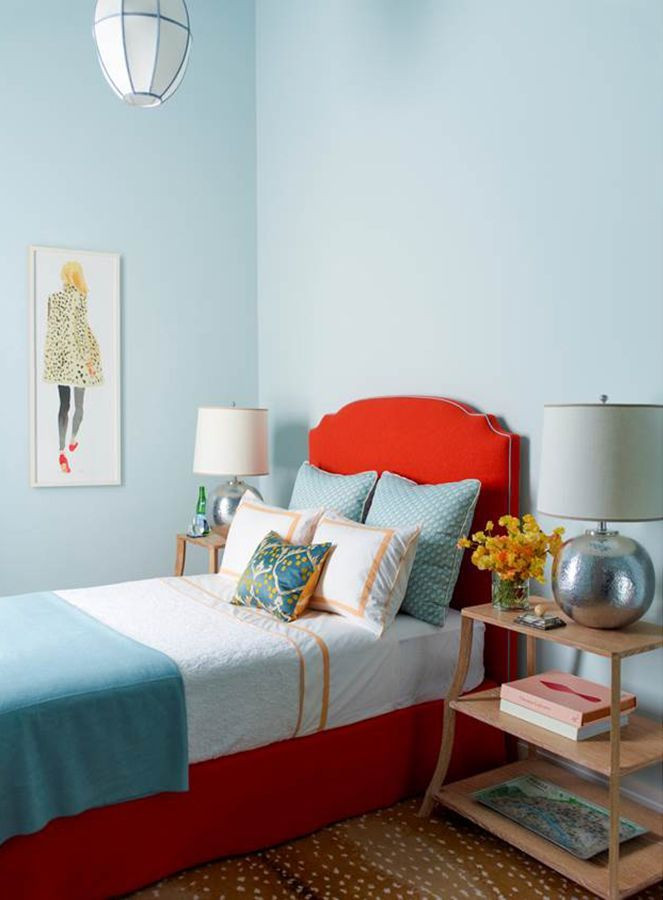 Red and Blue Bedroom Pale Blue Walls and A Red Headboard