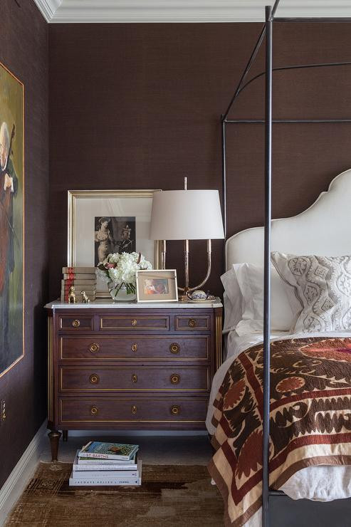 Red and Brown Bedroom Brown Bedroom with French Marble top Nightstand