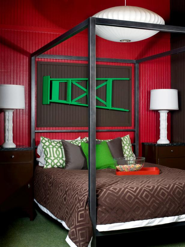 Red and Brown Bedroom Red Bedroom with Green Accents