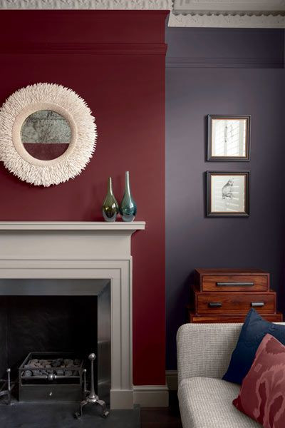 Red and Brown Bedroom Wine Red is Used as the Focal Point In This Cozy Living Room