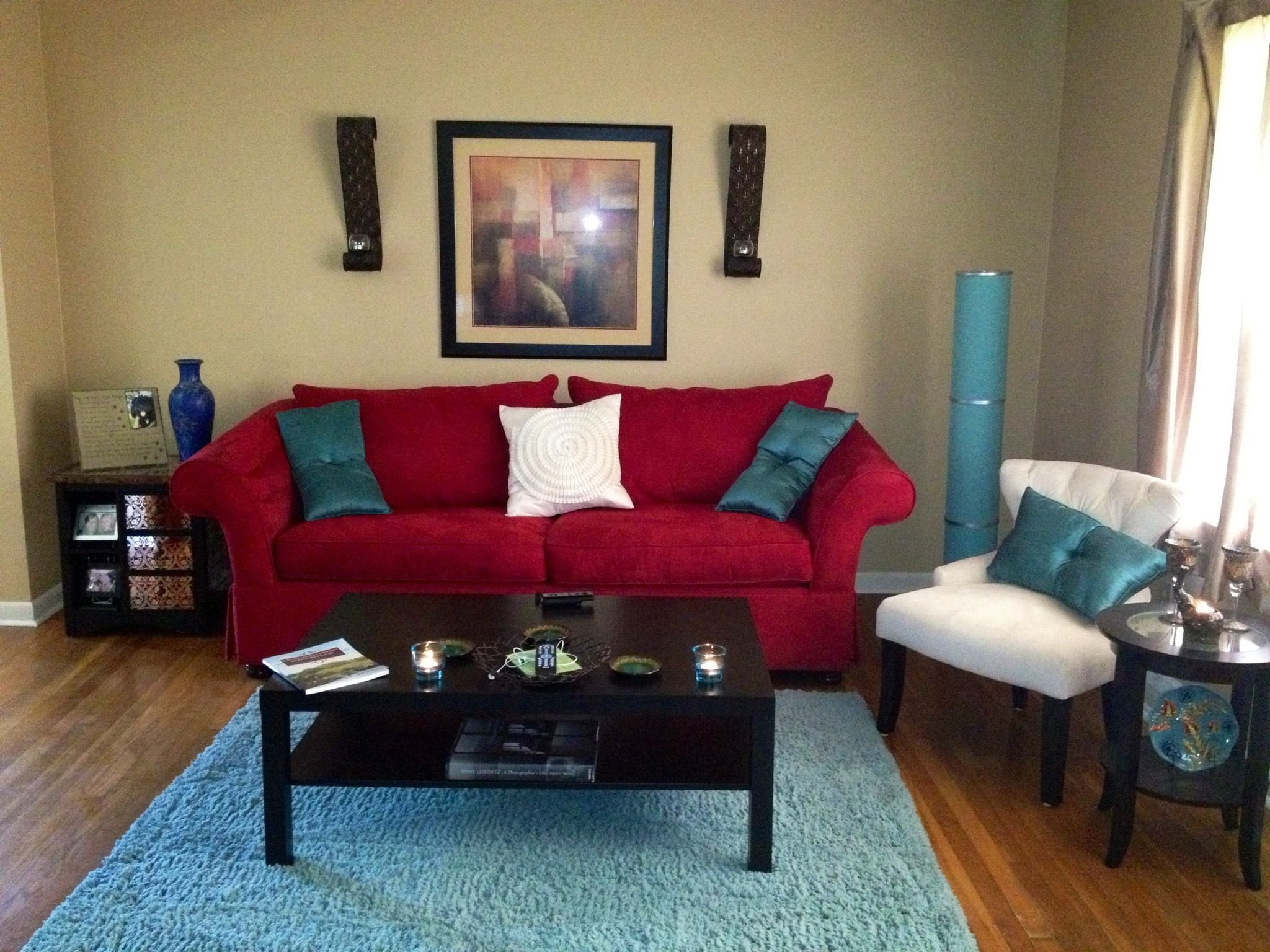 Red Couch Living Room Decor My Living Room Red Aqua and Ivory