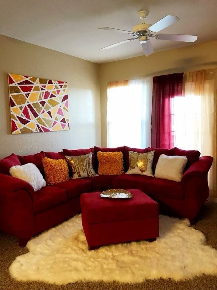 Red Couch Living Room Decor Pin by Goddess Shuda 👑💜 On Apartment