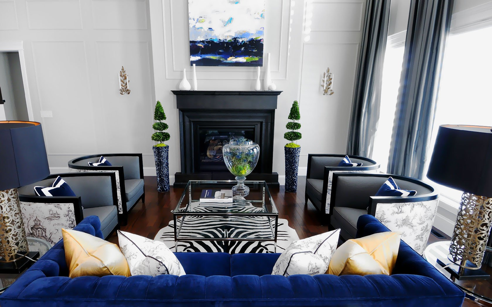 Royal Blue Living Room Decor 20 Of the Best Colors to Pair with Black or White