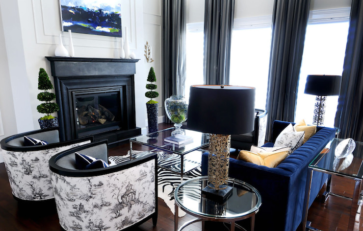 Royal Blue Living Room Decor Black and White toile Fabric Contemporary Living Room