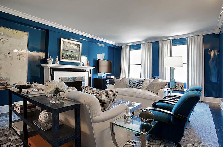 Royal Blue Living Room Decor Lacquered Walls Contemporary Living Room Christina