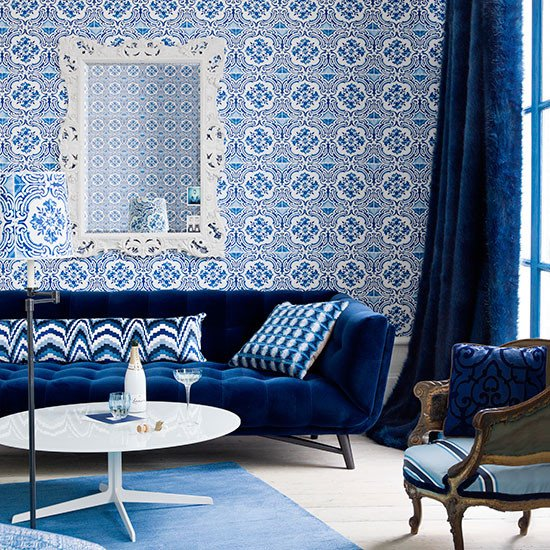 Royal Blue Living Room Decor Royal Blue Living Room with Feature Wall