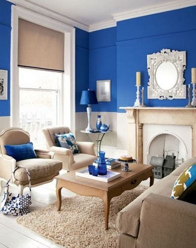 Royal Blue Living Room Decor Royal Blue Tan & White Living Room