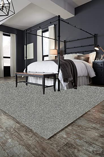 "Rug On Carpet Bedroom 8 X10 Pewter area Rug Carpet 25 Oz Face Weight 1 2"" Thick Polyester Loose and soft Frieze"