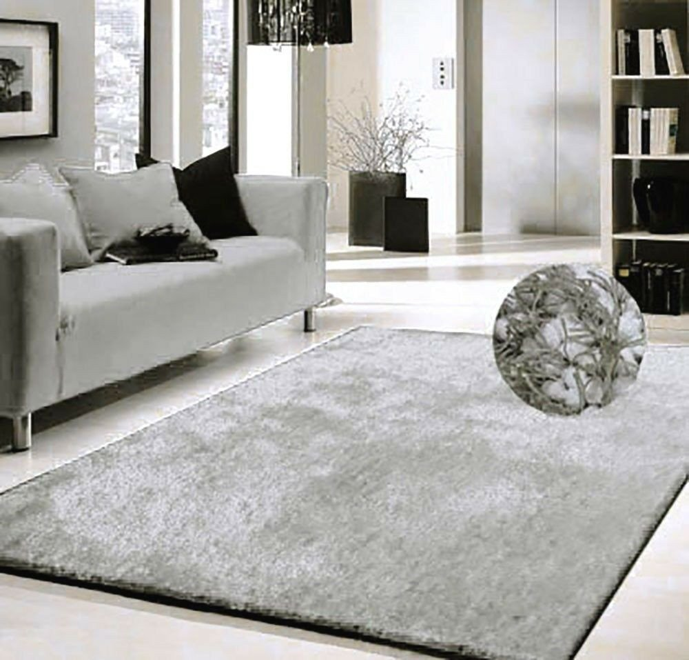 Rugs Contemporary Living Room Modern Contemporary Shaggy area Rug 5 X7 Silver solid