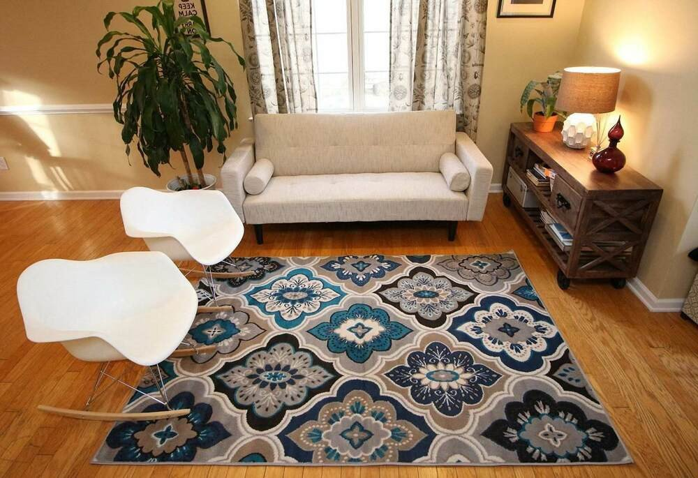 Rugs Contemporary Living Room Rugs area Rug Carpet Floor Modern Blue Living Room