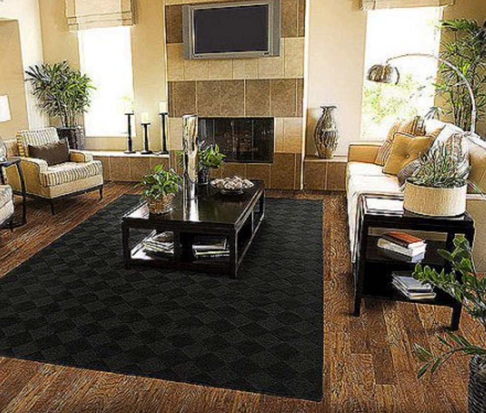 Rugs Contemporary Living Room solid Black area Rug Carpet 5 X 7 Size Rugs Floor Decor