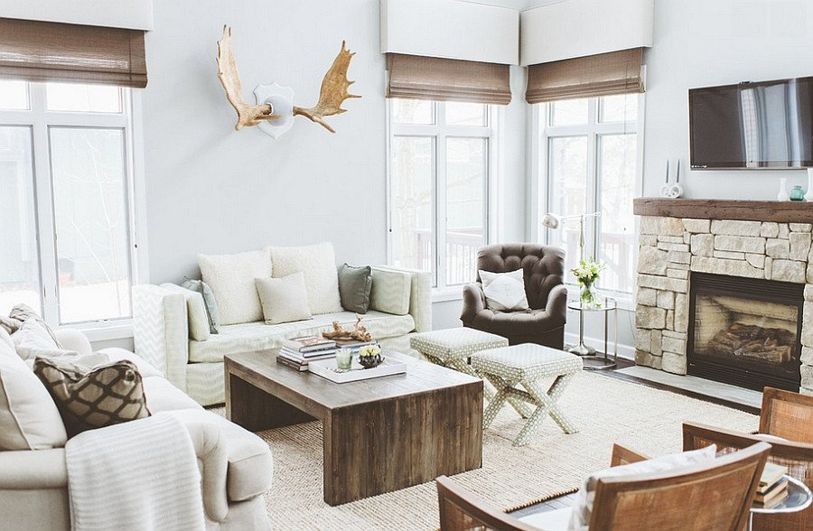 Rustic Chic Decor Living Room Breezy Summer House Lake Wisconsin Clad In Chic Modern