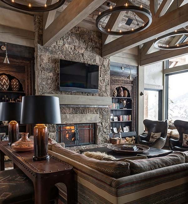 Rustic Modern Decor Living Room Sumptuous Montana Retreat Featuring Cozy Rustic Modern