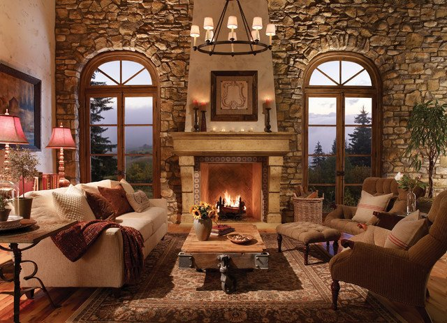 Rustic Traditional Living Room El Dorado Fireplace Surrounds Traditional Living Room