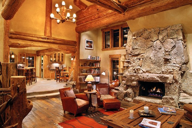 Rustic Traditional Living Room Hybrid Log House Traditional Living Room Vancouver