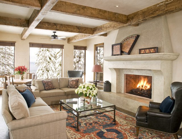 Rustic Traditional Living Room Mountain Chic Traditional Living Room Other by