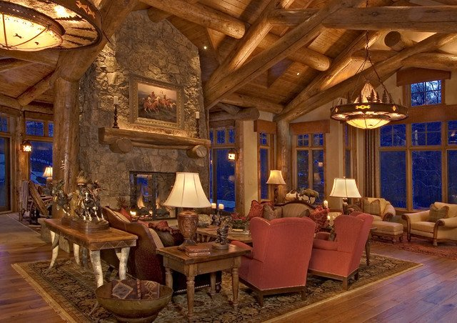 Rustic Traditional Living Room Rustic Log Home Traditional Living Room Denver by