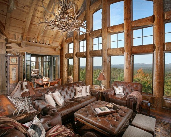 Rustic Traditional Living Room Wild Turkey Lodge Traditional Living Room atlanta