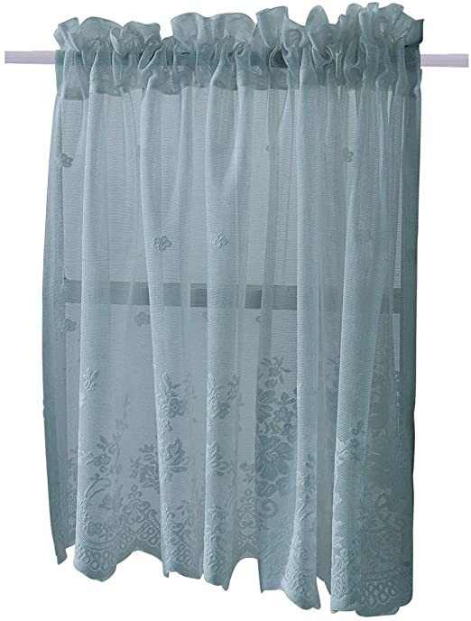 Short Curtains for Bedroom Homeyho Rod Pocket Sheer Cafe Curtains Lace Kitchen Tier Curtains for Living Room Tier Curtain Fabric Sheer Small Curtains for Windows Short Curtains