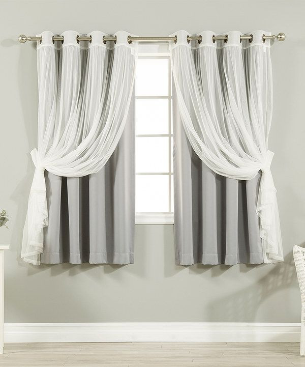 Short Curtains for Bedroom Look at This Gray Tulle Blackout Short Curtain Panel Set