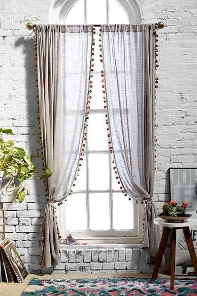 Short Curtains for Bedroom Pompom Curtain