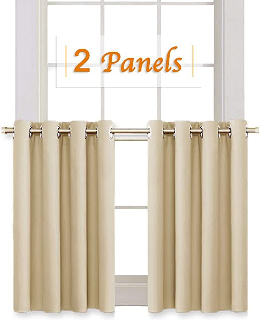 Short Curtains for Bedroom Windows Ryb Home Room Darkening Curtain Tiers for Bedroom Half Window Covering Blackout Drapes for Living Room Cafe Shop Short Curtains for Kitchen Wide 52