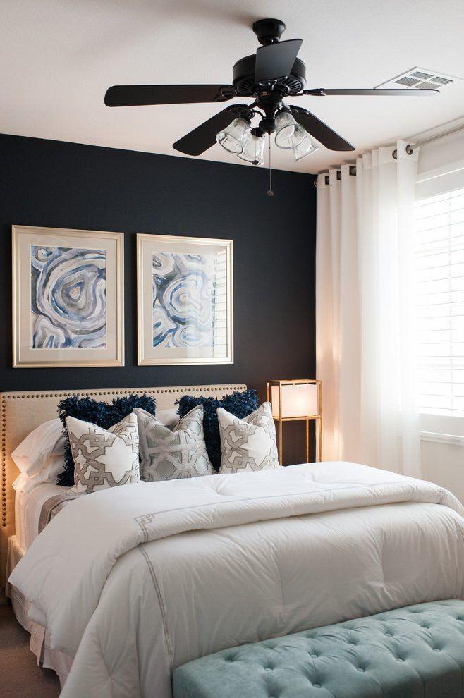 Small Bedroom Ceiling Fan Black Wall Black Ceiling Fan Pops Of Color