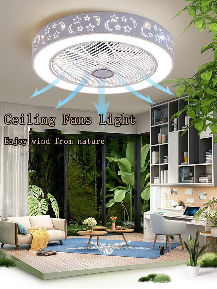 Small Bedroom Ceiling Fan Modern Ceiling Fan Lights Dining Room Bedroom Living Remote Control Fan Lamps Invisible Ceiling Lights Fan Lighting Small Fice
