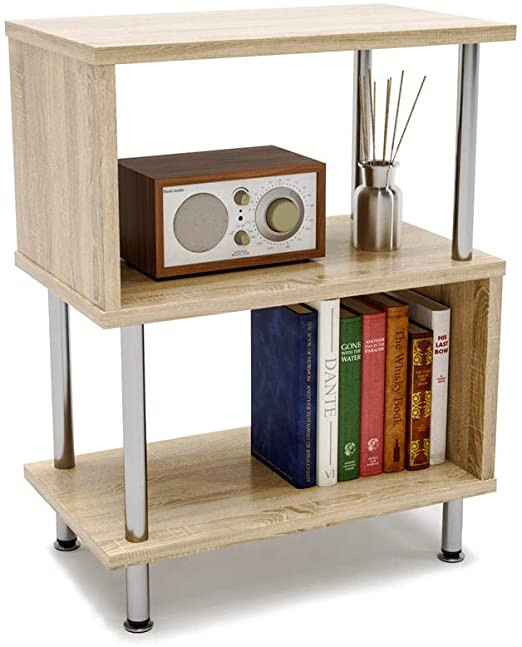 Small Bedroom End Tables Bestier Side Table 3 Tier S Shaped Small Nightstand Bedside Table End Table with Storage Shelves for Bedroom sofa Table Coffee Table Modern Design