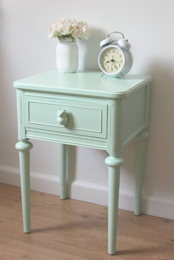 Small Bedroom End Tables Small Nightstand Chic Mint Green Nightstand Hand Painted