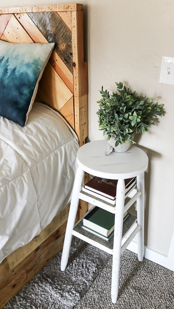 Small Bedroom Side Tables How to Upcycle A Bar Stool Into A Narrow Bedside Table