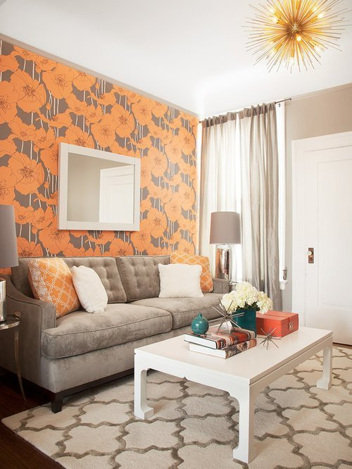 Small Gray Living Room Ideas Gray and orange Living Room Home Design Ideas