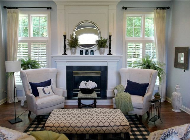 Small Living Room Fireplace Ideas Love the Blue Wall Color with White Trim and Curtains and