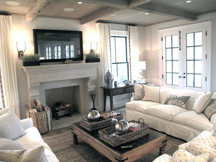 Small Living Room with Fireplace Flatscreen Tv Over Fireplace Transitional Living Room