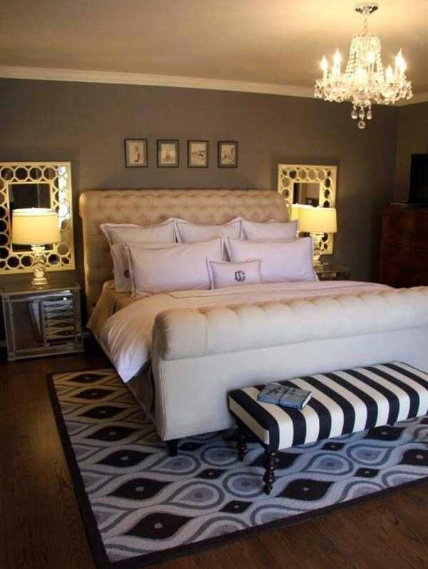 Small Master Bedroom Ideas Mirrors Behind Nightstands Make the Room Look More Open