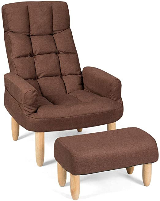 Small Recliners for Bedroom Giantex Folding Lazy sofa Chair W Ottoman Thick Padded Linen Lounge Armchair Set Adjustable Backrest Headrest In 10 Position Easy assembly Single