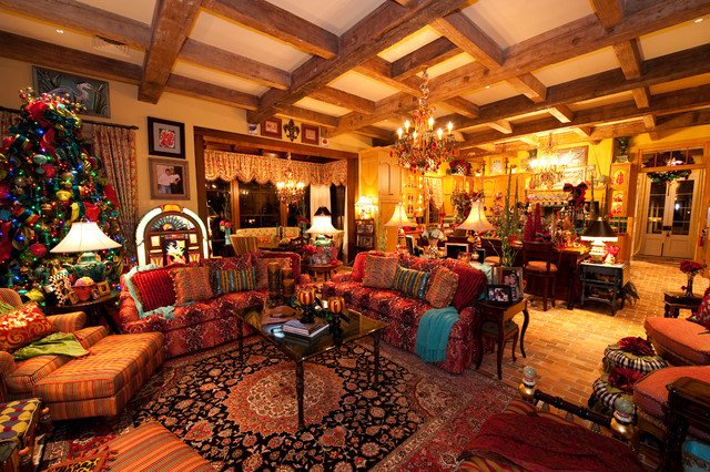 Southern Traditional Living Room Holiday Installation Of southern Style Great Room